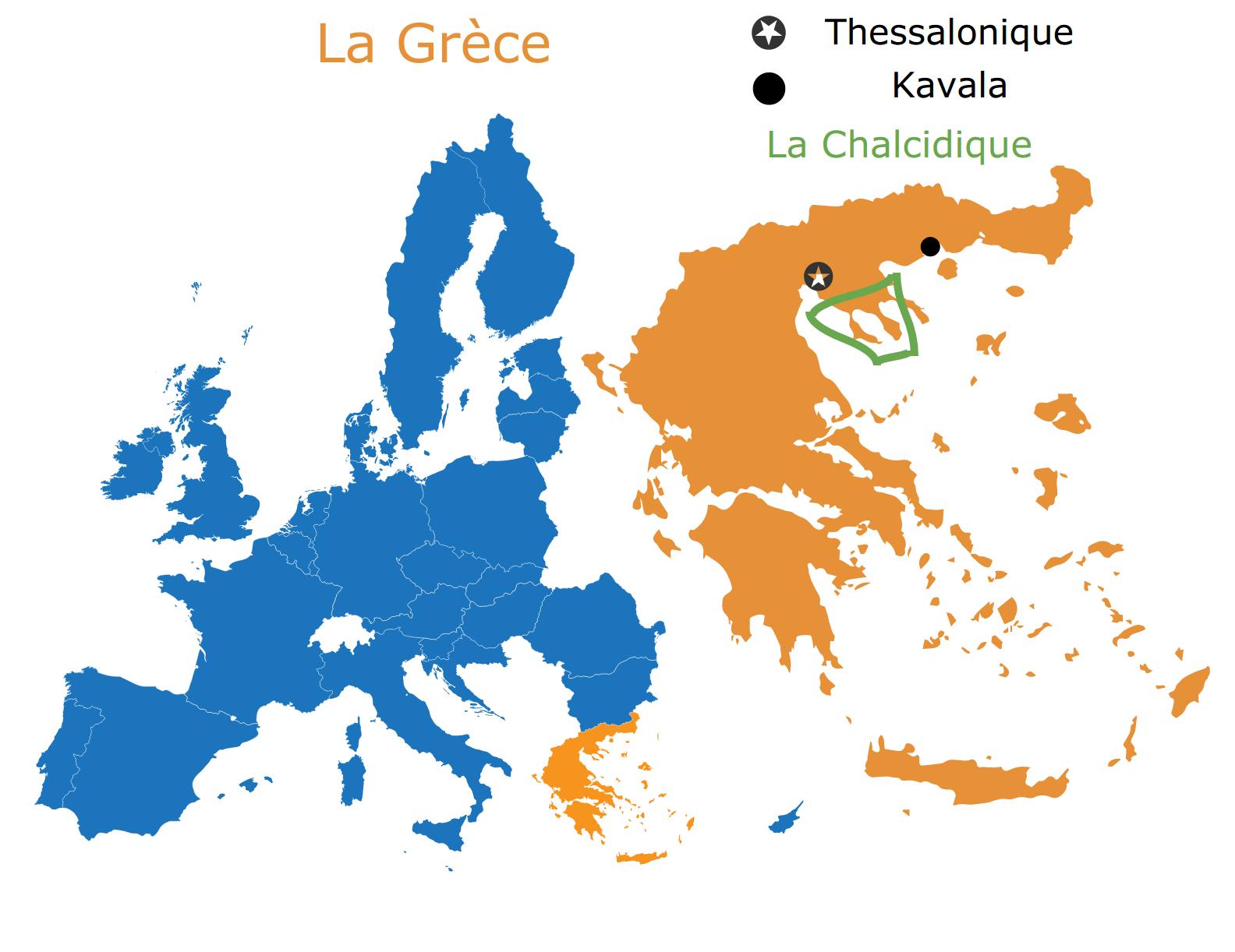 carte de la Grèce et de la Chalcidique