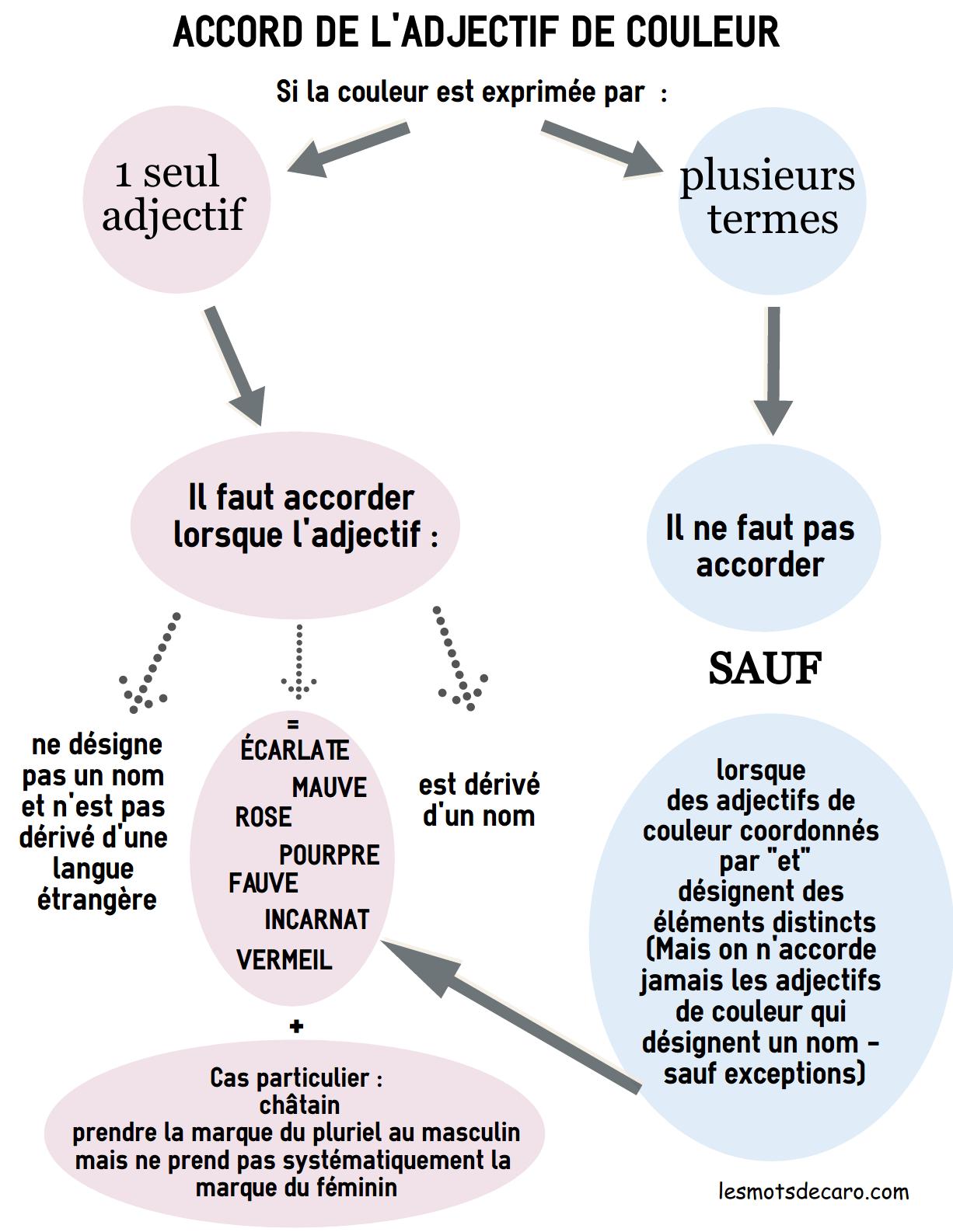 infographie accord de l'adjectif de couleur