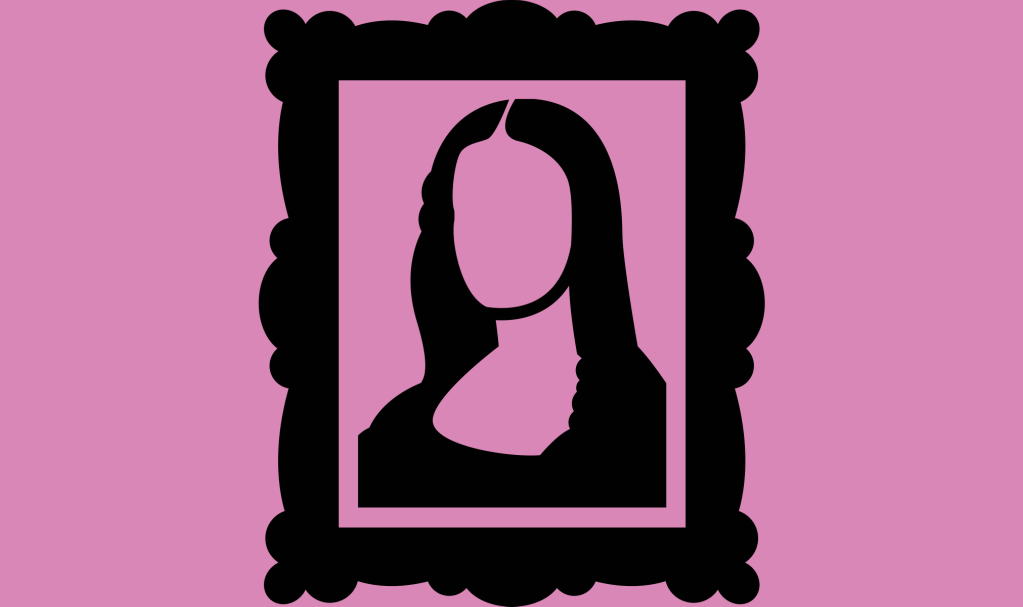 dessin de la Joconde sur fond rose